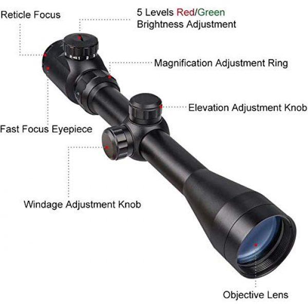 QILU Rifle Scope 2 QILU 3-9x40 Rangefinder Red & Green Illuminated Reticle Optics Hunting Scope 1 Inch Tube