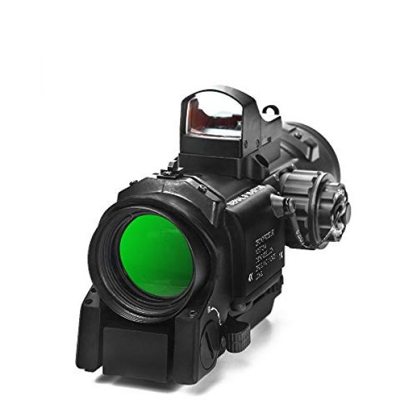 Luger Rifle Scope 5 Luger Tactical 1x-4x Magnification Optic Fixed Dual Purpose Scope Combo with Mini Red Dot Sight Wide Angle for Rifle Hunting Shooting
