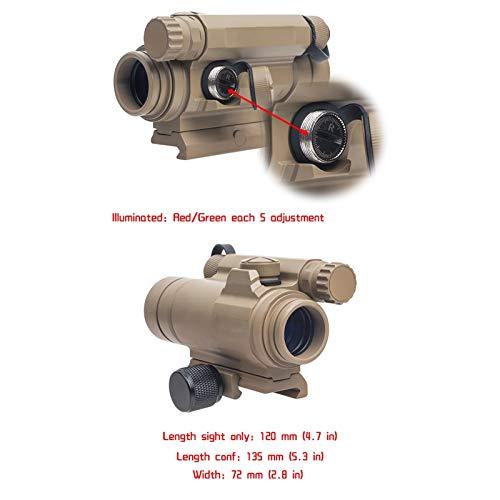UELEGANS Rifle Scope 5 UELEGANS Red Dot Sight, M2 Hunting Riflescope Sight Red Green Dot Rifle Scope Riflescope for 20mm Rail