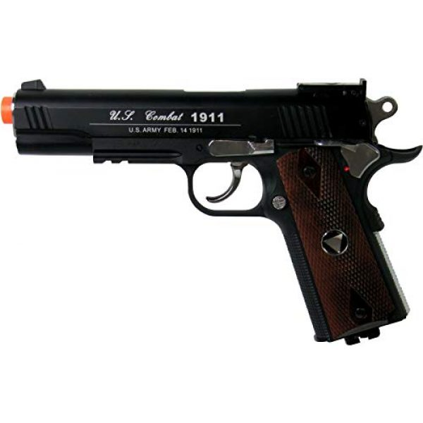 WinGun Airsoft Pistol 1 WG Special Combat Pistol 1911 CO2 Blowback Airsoft Pistol Black with Brown Grip