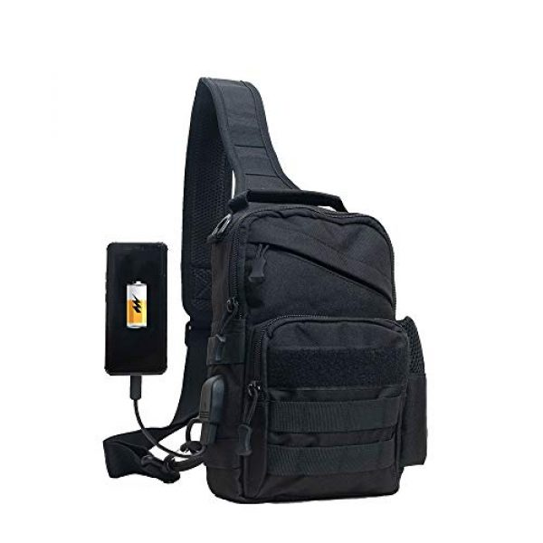Ousawig Tactical Backpack 1 Ousawig Tactical Small Sling Backpack Chest Shoulder Bag Molle Daypack with USB Charging for Men Outdoor Cycling Hiking Camping