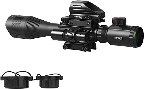 TPO Rifle Scope 4 TPO ST 4-16x50 Rifle Scope Combo Flashlight + Green Laser Sight+ 4 Holographic Reticle Red/Green Dot for Weaver/Rail Mount