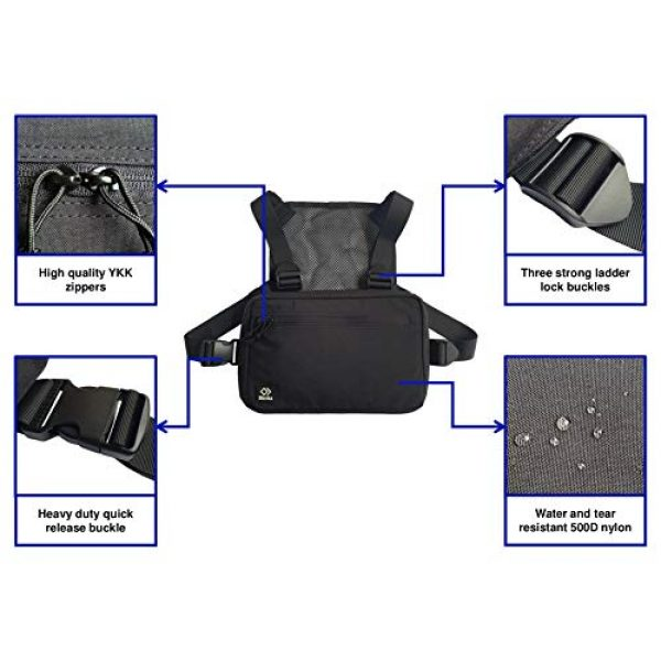 Blenka Tactical Backpack 3 Blenka Lightweight Chest Pack | Front Bag design great for Hiking, Running, Cycling, Climbing, Travelling and Tactical