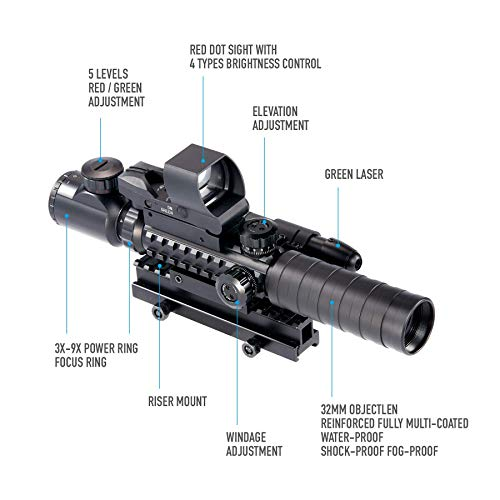 Pinty Rifle Scope 4 Pinty Rifle Scope 3-9x32 Rangefinder Illuminated Reflex Sight 4 Reticle Green Dot Laser Sight & 6 inch to 9 inch Aluminum Rifle Bipod Works with Picatinny MLOK KeyMod and QD Mounting
