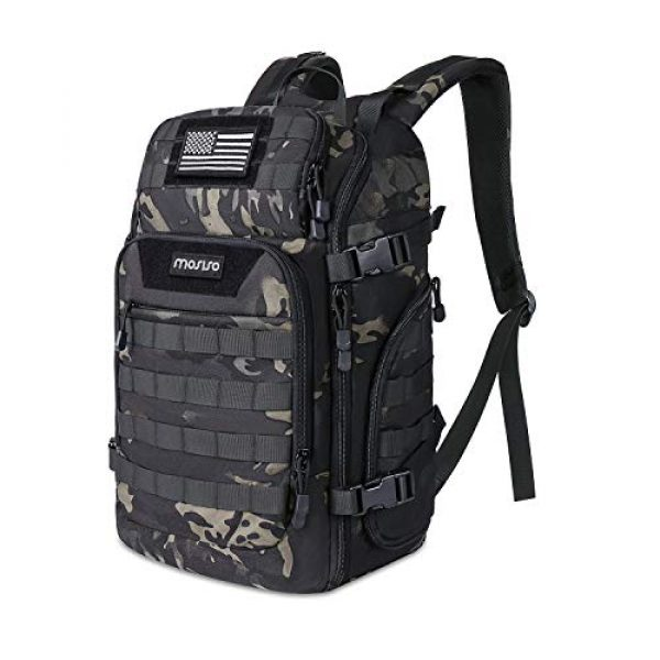 MOSISO Tactical Backpack 1 MOSISO 30L Tactical Backpack, Military Daypack 3 Day Assault Molle Rucksack Outdoor Hiking Hunting Fishing Camping Training Shoulder Bag with USA Flag Patch&USB Charging Port, Night Camouflage