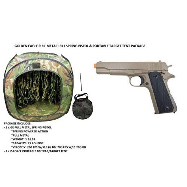 GE / JG Airsoft Pistol 2 GE / JG Full Metal 1911 Spring Powered Airsoft Pistol with Portable Airsoft BB Trap Target Tent Package (Tan)