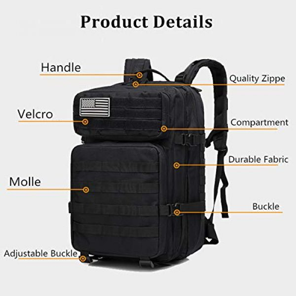 HAOMUK Tactical Backpack 3 HAOMUK Military Army Tactical Backpack Bag, Large 3 Day Assault Pack Army Molle Bag Backpacks Rucksack