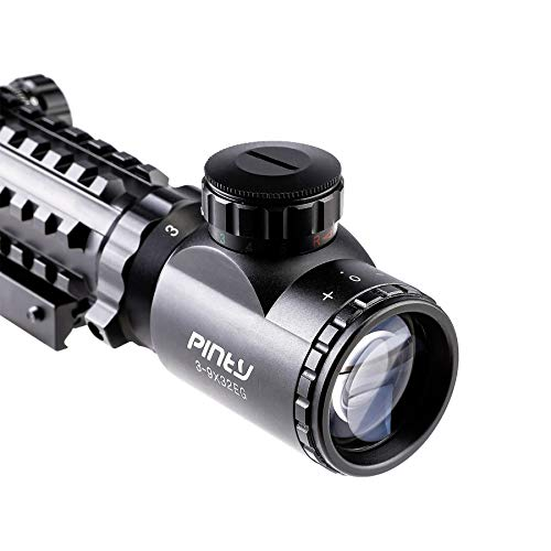 Pinty Rifle Scope 2 Pinty Rifle Scope 3-9x32 Rangefinder Illuminated Optics Red Green Reflex 4 Reticle Sight Green Dot Laser Sight with 14 Slots 1 inch High Riser Mount,45 Degree Mount