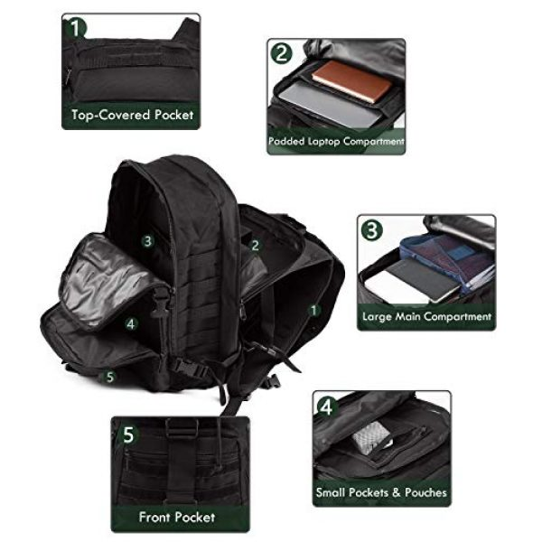 Supersun Tactical Backpack 3 Supersun Tactical Military Backpack Molle - 35L Tactical Backpack Laptop Rucksack Survival Bag Bugout Assault Pack