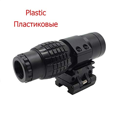 KTAIS Rifle Scope 1 KTAIS 3xMagnifier Riflescope Tactical Magnifying Hunting Scope for Riflescopes Plastic Toy Mount Fits Holographic Reflex Sight (Color : B)