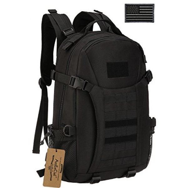 ArcEnCiel Tactical Backpack 1 ArcEnCiel Motorcycle Backpack Tactical Military Molle Gym Badminton Bag with Patch - Rain Cover Included
