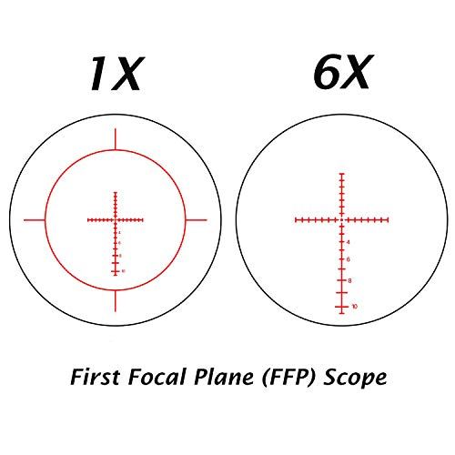 Sniper Rifle Scope 6 VT1-6X24FFP First Focal Plane (FFP) Scope with Red/Green Illuminated Reticle Includes Scope Mount