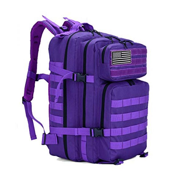 LHI Tactical Backpack 1 LHI Military Tactical Backpack for Men and Women 45L Army 3 Days Assault Pack Bag Large Rucksack with Molle System - Purple