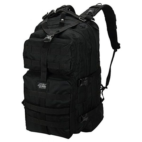 """NPUSA Tactical Backpack 2 Mens Large 21"""" Tactical Gear Molle Hiking Hydration Ready Backpack Daypack Bag + Key Ring Carabiner"""