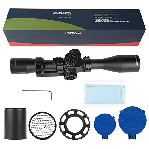 Sniper Rifle Scope 6 Sniper ZT 4.5-18x44 FFP Scope Side Parallax Adjustment Glass Etched Reticle Red Green Illuminated with Scope Mount
