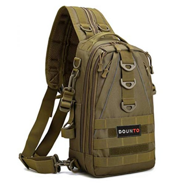 DOUN Tactical Backpack 1 DOUNto Tactical Sling Backpack, EDC Molle Sling Bag Military Daypack Backpack Outdoor Range Bags