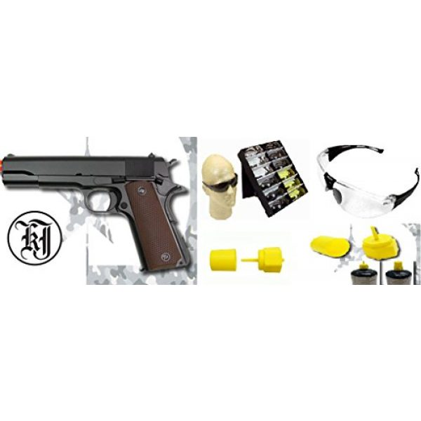 KJW Airsoft Pistol 6 gbb-609 - KJW full metal semi auto gas blowback pistol with free safty shooting glasses and propane adapter(Airsoft Gun)