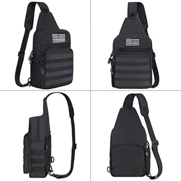 MOSISO Tactical Backpack 4 MOSISO Tactical Sling Backpack, Small Chest Shoulder Bag Military Army Assault Molle Rucksack for Outdoor Sports Hiking Hunting Fishing Camping Training with USA Flag Patch & Side Bottle Holder, Black