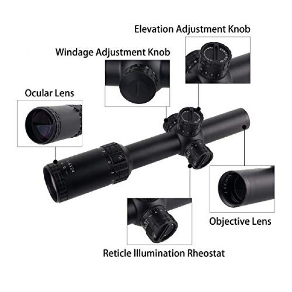 Sparwod Rifle Scope 4 Sparwod 1-6x24mm Rifle Scope,SFP Red Illuminated MOA Reticle Gun Scopes for Out Hunting with 20mm Mount-Green Lens Color
