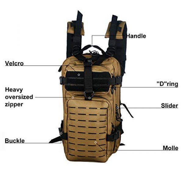 Warriors Product Tactical Backpack 3 Warriors Product Small Assault Backpack Military Tactical Backpack Bag with Flag Patch for Outdoor,Hiking, Camping Travel