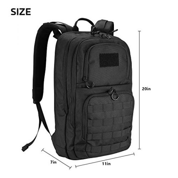 """ProCase Tactical Backpack 7 ProCase Tactical Outdoor Backpack 30L with Molle Laptop Compartment Back Panel, EDC Military Outdoors Daypack Rucksacks for Men Women Travel Hiking Riding Hunting Trekking """"Black, 1000D Nylon"""