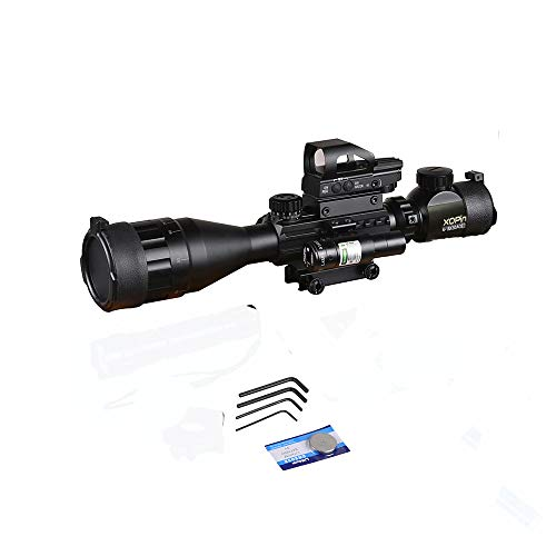 XOPin Rifle Scope 5 XOPin Rifle Scope Combo 4-16x50 Dual Illuminated with Green Laser sight 4 Holographic Reticle Red/Green Dot for Weaver/Rail Mount