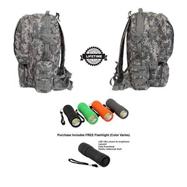 NPUSA Tactical Backpack 3 NPUSA Mens 22 Inch Large Military Tactical Gear Molle Hydration Ready Hiking Backpack Bag + Flashlight