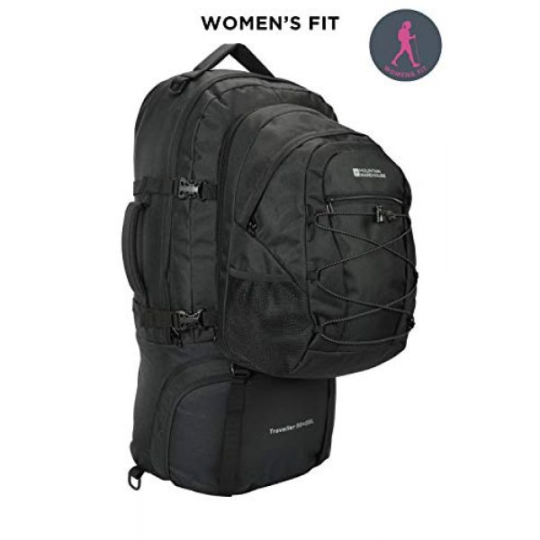 Mountain Warehouse Tactical Backpack 2 Mountain Warehouse Traveller 60 + 20L Travel Backpack - for Camping, Outdoor Rucksack with Detachable Daypack Black Women's Fit