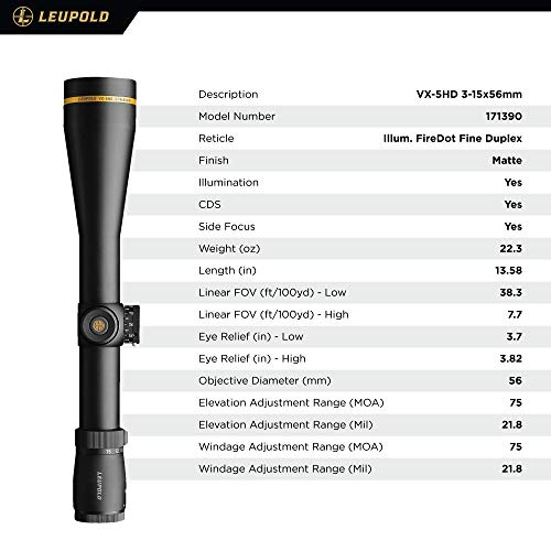 Leupold Rifle Scope 4 Leupold VX-5HD 3-15x56mm Riflescope