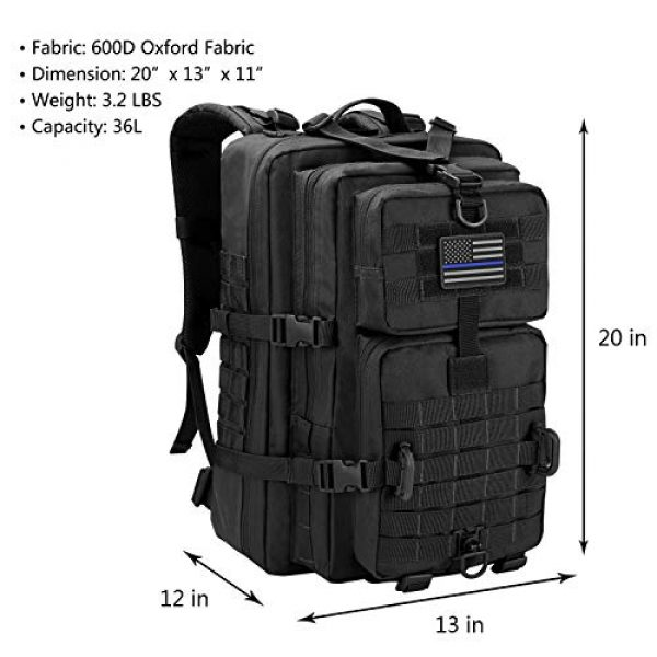 Hannibal Tactical Tactical Backpack 2 Hannibal Tactical MOLLE Assault Pack, Tactical Backpack Military Army Camping Rucksack, 3-Day Pack
