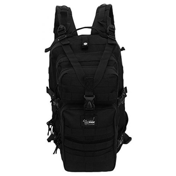 NPUSA Tactical Backpack 3 Mens 18 Inch Molle Hydration Ready Tactical Gear Daypack Backpack + Key Ring Carabiner