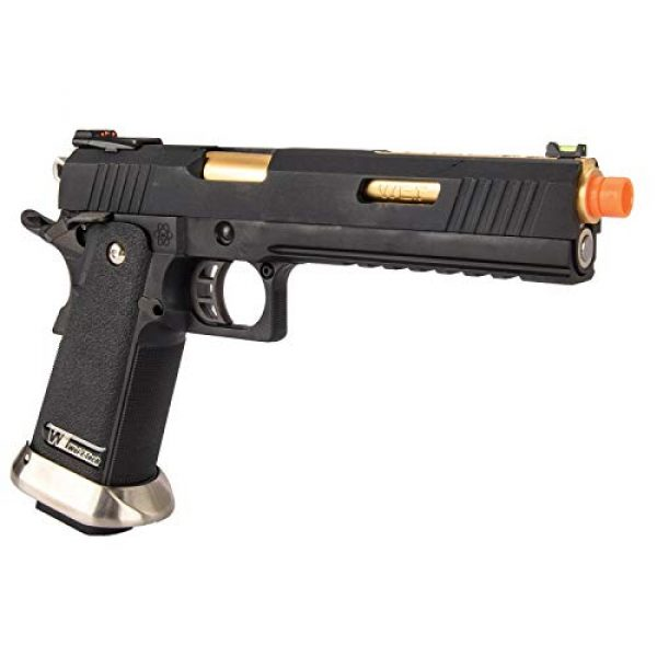 "Lancer Tactical Airsoft Pistol 4 Lancer Tactical WE-Tech Hi-Capa 6"" IREX Competition Full Auto Gas Blowback Airsoft Pistol Black Gold Barrel"