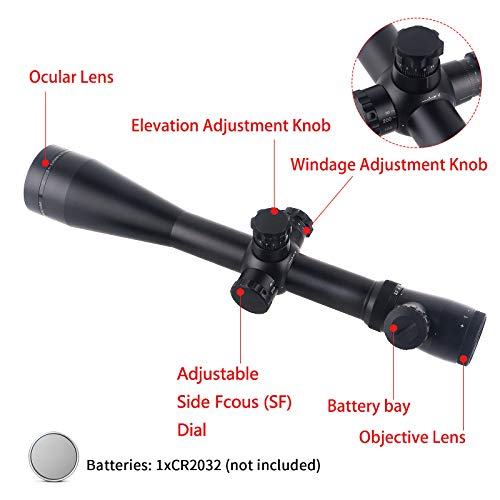 ToopMount Rifle Scope 5 ToopMount 3.5-10x50mm Rifle Scope SF M1 Optics Red Illuminated Riflescope Tactical Scope for 11 level Controls with 11, 20mm Rings