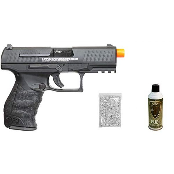 Umarex Airsoft Pistol 1 Umarex Walther PPQ Mod 2 Gas Blowback Airsoft Pistol with Included Elite Force Airsoft Green Gas Can and Wearable4U Pack of 1000 6mm 0.20g BBS Bundle