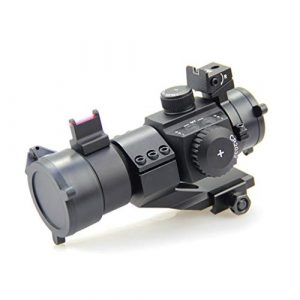 AJDGL Rifle Scope 1 AJDGL 1X30mm Tactical Red Dot Sight Scope- Rapid Ranging Reticle Fiber Optic Front Sight with Picatinny Rails for Rifle Hunting