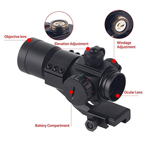 UELEGANS Rifle Scope 5 UELEGANS Hunting Scope Sights 4MOA 1x32 Red Green Dot Reflex Sight Scope with Picatinny Cantilever Mount