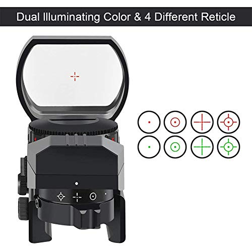 SUIYEU Rifle Scope 2 Reflex Sight - Adjustable Reticle Both Red and Green in one Sight - 4 Styles