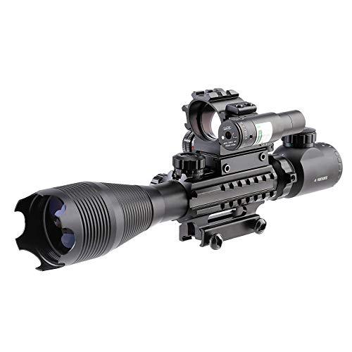 Letra Rifle Scope 1 Letra 4-in-1 4-16x50 EG Riflescope Kit, Dot Laser, Reflex Sight, Offset Rail Mount