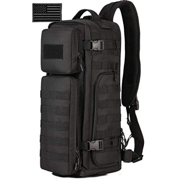 Protector Plus Tactical Backpack 1 Protector Plus Tactical Sling Bag Military MOLLE Crossbody Pack Assault Range Chest Shoulder Backpack EDC Diaper Satchel Motorcycle Bicycle Outdoor Daypack (Patch Included)