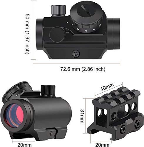 QILU Rifle Scope 2 QILU Red Dot Sight, Waterproof & Shockproof & Fog-Proof Red Dot Scope, Mini Rifle Scope with 1 Inch Riser Mount, Black