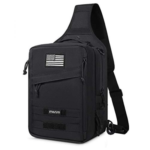 MOSISO Tactical Backpack 1 MOSISO Tactical Backpack, 2 Layer Chest Slingbag 600D Polyester Military Army Assault Molle Rucksack Shoulder Bag for Outdoor Sports Hiking Hunting Fishing Camping Training, Black