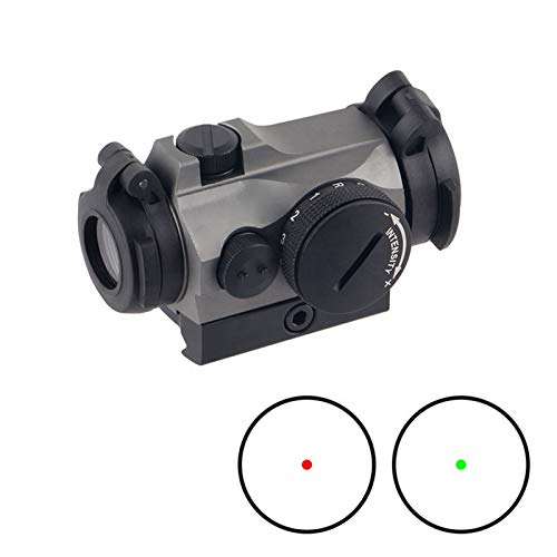 UELEGANS Rifle Scope 2 UELEGANS Outdoor Hunting 1X24 red Green dot Sight red dot Sight Scope with Integral Picaninny-Style Base and flip-up Cover Gry