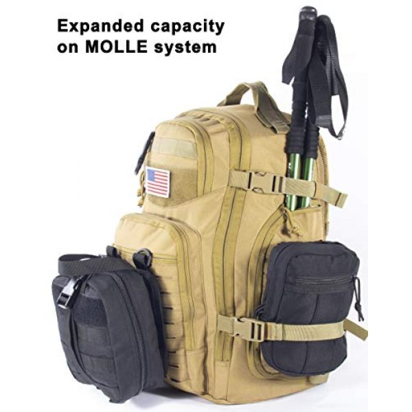 XMILPAX Tactical Backpack 5 Military Tactical Backpack Bugout Bag Lazer Cut MOLLE Hiking Backpack Daypack EDC Pack 40L