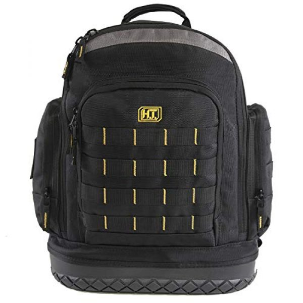 HIGHLAND TACTICAL Tactical Backpack 1 Highland Tactical Men's Task Tool Backpack with Molle Webbing, Black, One Size