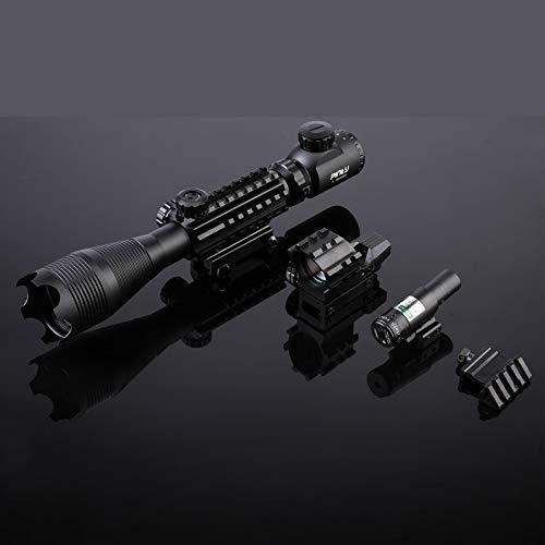 Letra Rifle Scope 5 Letra 4-in-1 4-16x50 EG Riflescope Kit, Dot Laser, Reflex Sight, Offset Rail Mount