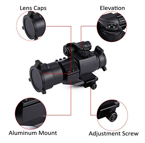 Without Rifle Scope 5 Toy Gun Sight Red dot Sight Magnification Hunting Mirror 32mm M2 Sight Gun Sight Reflecting red and Green dot Sight (Color : Black)