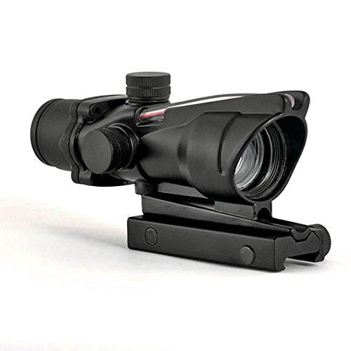 Alrebeto Rifle Scope 1 CL-SPORTS Alrebeto ACOG Type 1X32 Tactical Green or RED Dot Sight Real Green Fiber Optic Riflescope (Red Dot)