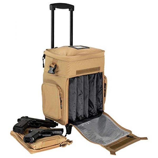 """Calissa Offshore Tackle Tactical Backpack 3 Calissa Offshore Tackle Backpack -""""Apollo 2"""" Tactical Rolling Pistol Case Gun Range Bag for Shooting Gear, Ammo, Hunting Supplies, Firearms Storage, Fishing Equipment """" 5 Pouch Compartment Organizer"""