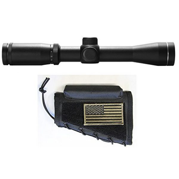 M1Surplus Rifle Scope 1 M1SURPLUS Scout Rifle Kit with 2-7x32 Illuminated Long Eye Scope +Tactical Cheek Rest w/Flag Patch Fits MOSSBERG MVP Scout Rifle Marlin 1895SBL Ruger GUNSITE Scout M1A SOCOM 16 II Scout Squad
