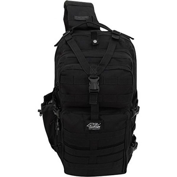 NPUSA Tactical Backpack 3 Mens Multicam Molle 2L Hydration Ready Sling Bag with Keychain Compass or Key Ring Carabiner+ 2 Zipper Pulls